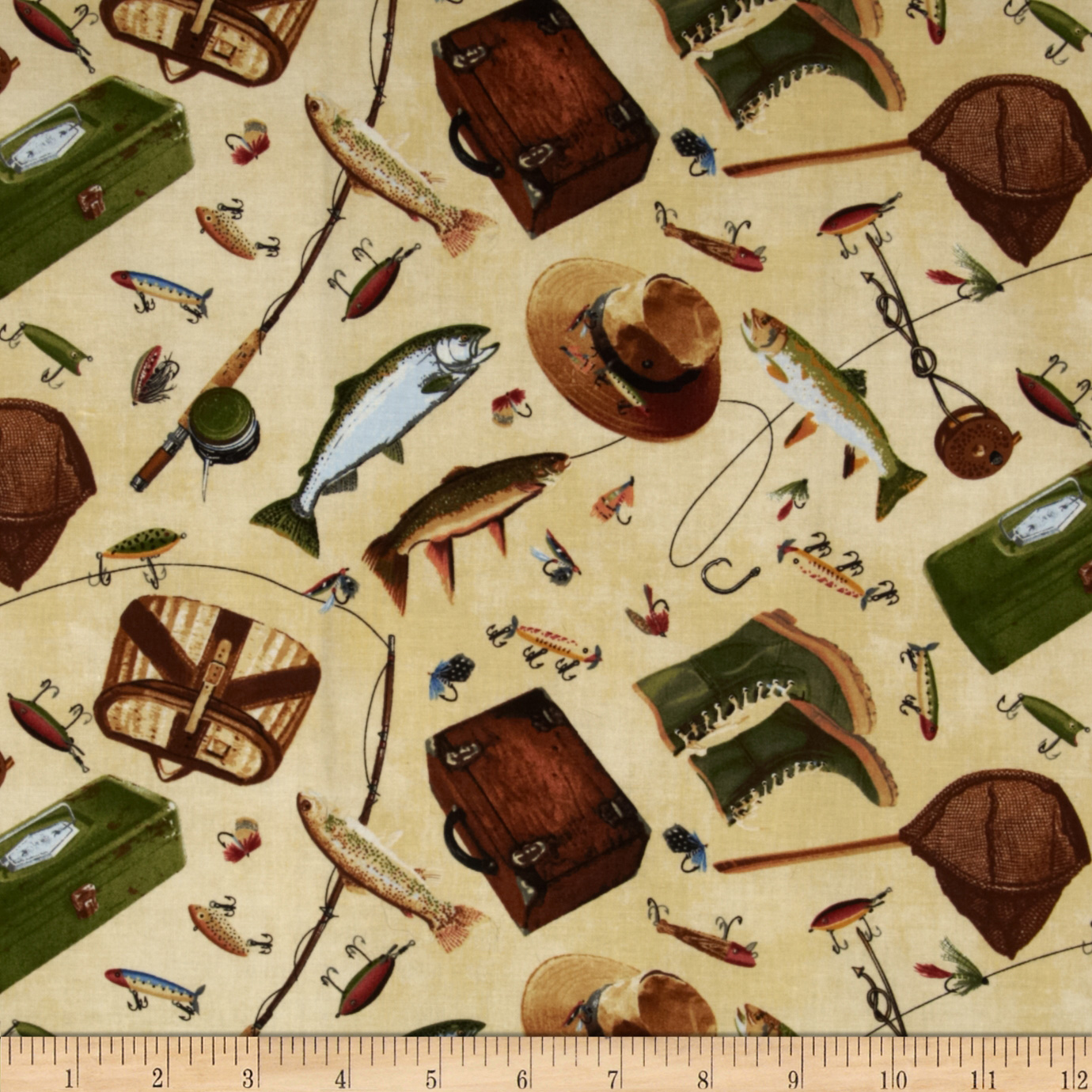 Timeless Treasures Norman Rockwell Fishing Icons Natural Fabric
