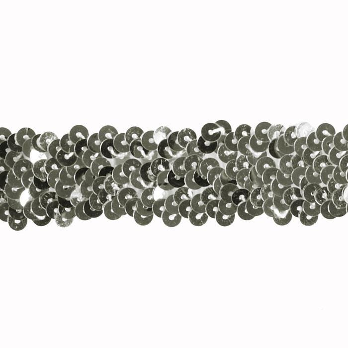 "1 1/4"" Stretch Metallic Sequin Trim Silver"