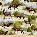 Timeless Treasures Deer Scenes Multi