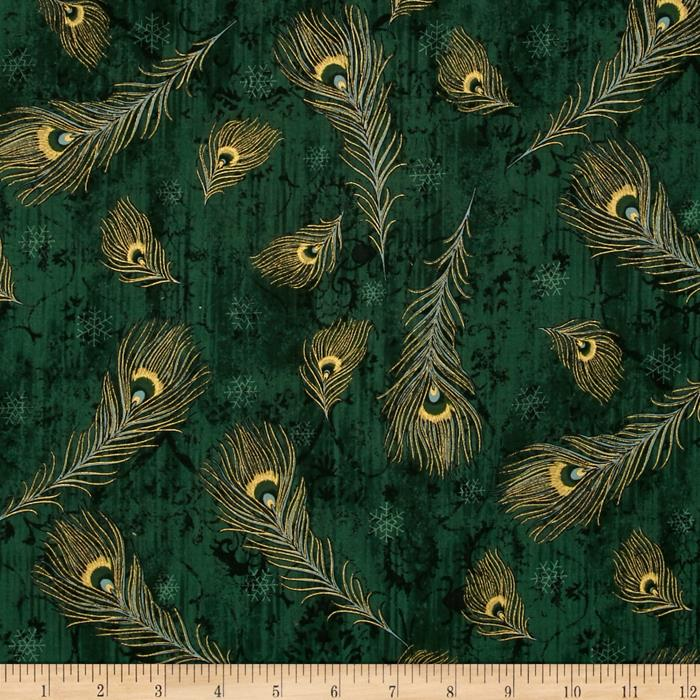 Peacock Ornamental Metallic Peacock Feathers Emerald/Gold