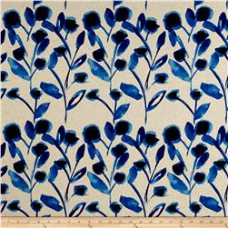 Kaufman Sevenberry Canvas Cotton Flax Prints Vines Blue