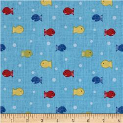Ships Ahoy Fishy Fishy Blue Fabric