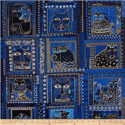 Laurel Burch Fabulous Felines Cats Stripe Blue Metallic