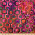 Indian Batiks Circle Dot Green/Pink