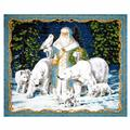 "All Is Calm Metallic Arctic Santa 35.5"" Panel Blue"