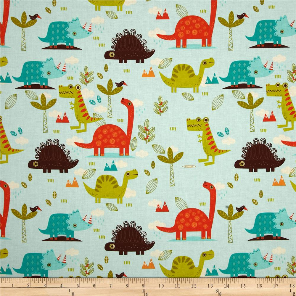 Riley blake dinosaur main blue discount designer fabric for Dinosaur fabric