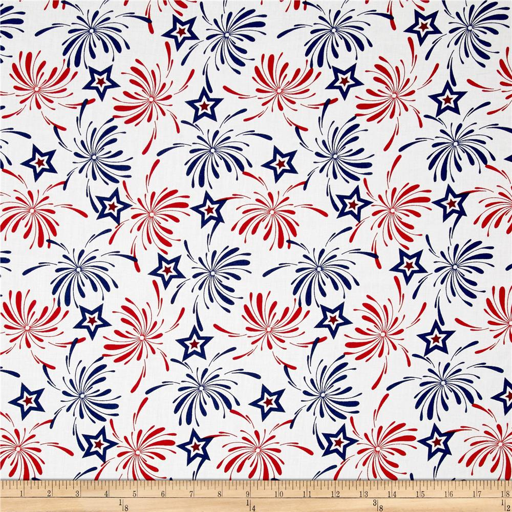 Patriotic prints fireworks blue discount designer fabric for Fabric purchase