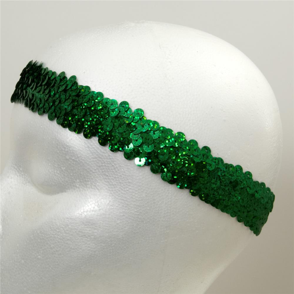 "1 1/4"" Hologram Stretch Sequin Headband  Green"
