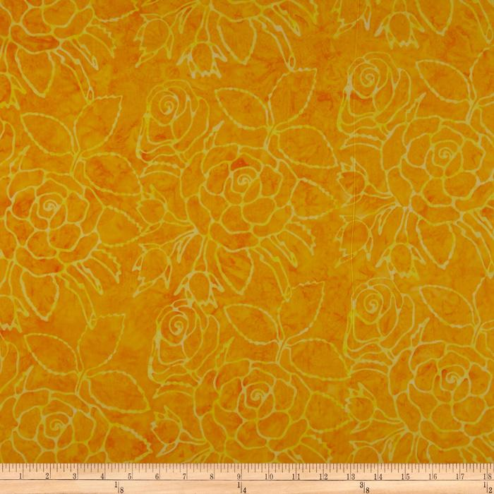 Tonga Batik Six Weeks in Bali Rose Bush Sun Yellow