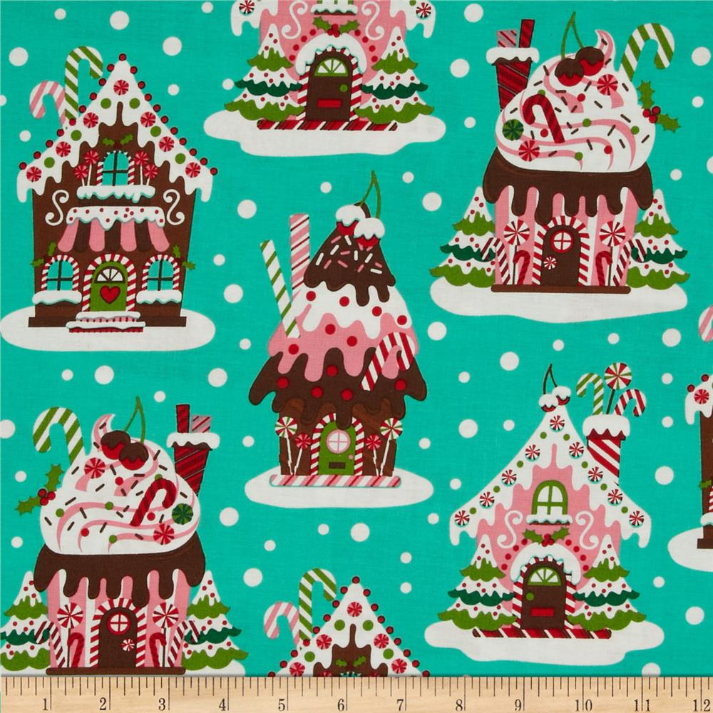 Michael Miller Holiday Santa's Farm Gingerbread Houses Aqua