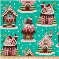 Michael Miller Holiday Gingerbread Houses Aqua