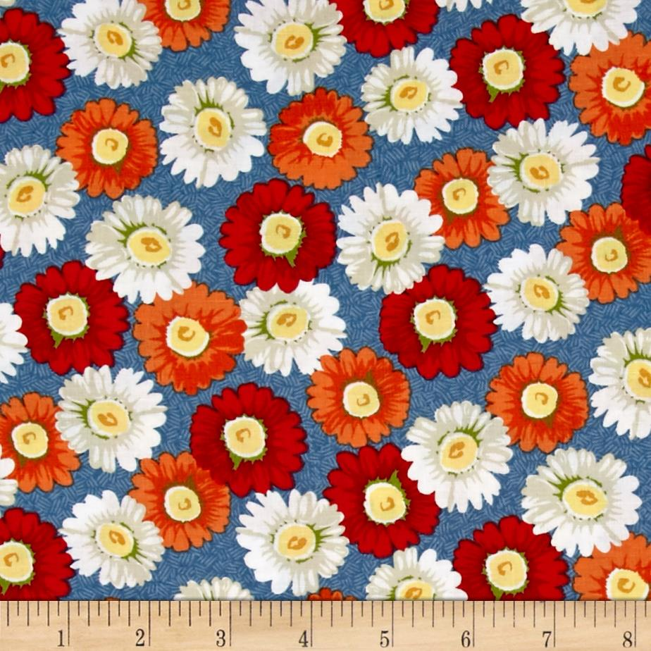 The Little Red Hen Large Floral Blue