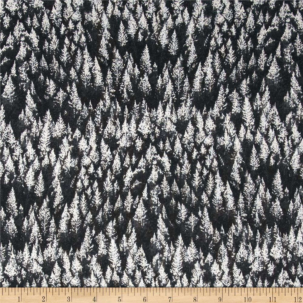 Woodsy Winter Metallic Trees Charcoal/Silver