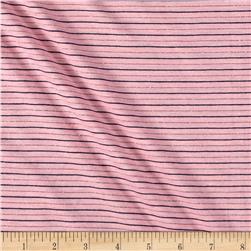 Jersey Stretch Knit Stripe Pink/Black/Silver