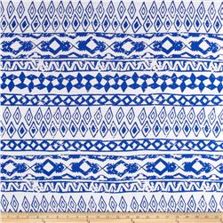 Rayon Challis Aztec Royal/White
