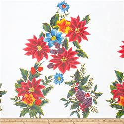 Oil Cloth Christmas Poinsettias White/Multi Fabric