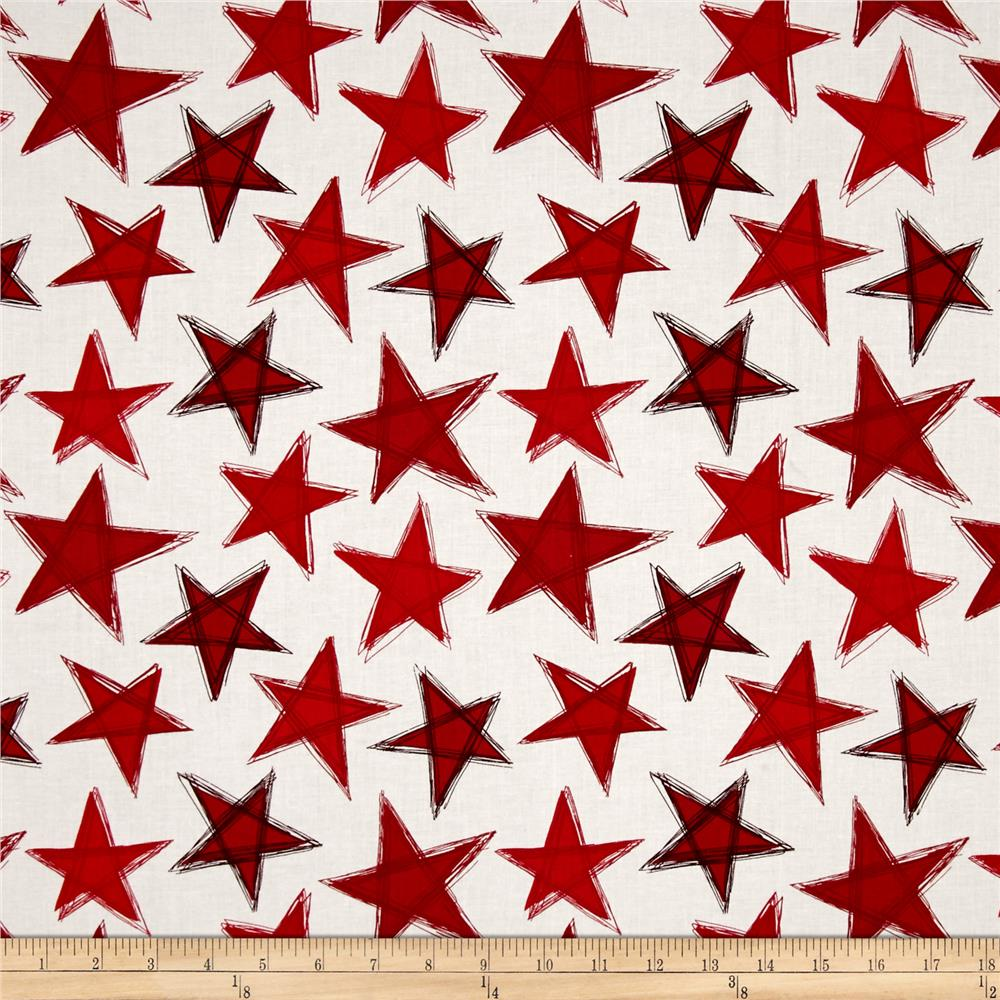 Marblehead Valor Large Stars Red/White Fabric