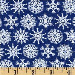 Moda Folk Art Holiday Flakes Navy