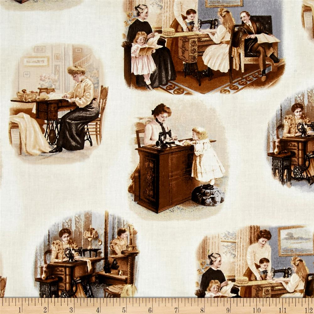 Sewing With Singer Tossed Scene Sepia