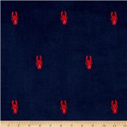Kaufman Embroidered Corduroy 21 Wale Candy Crawfish Navy