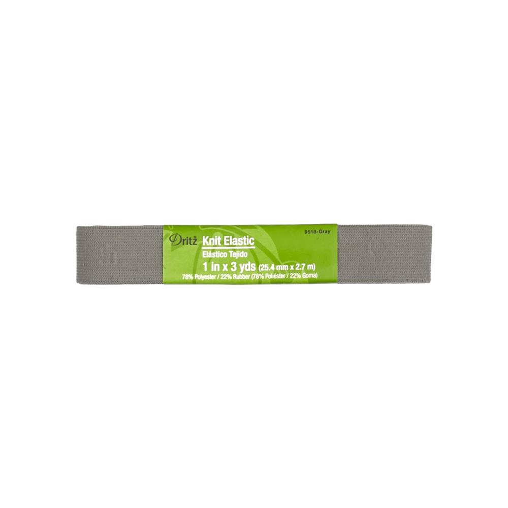 "1"" Dritz Knit Elastic Grey"