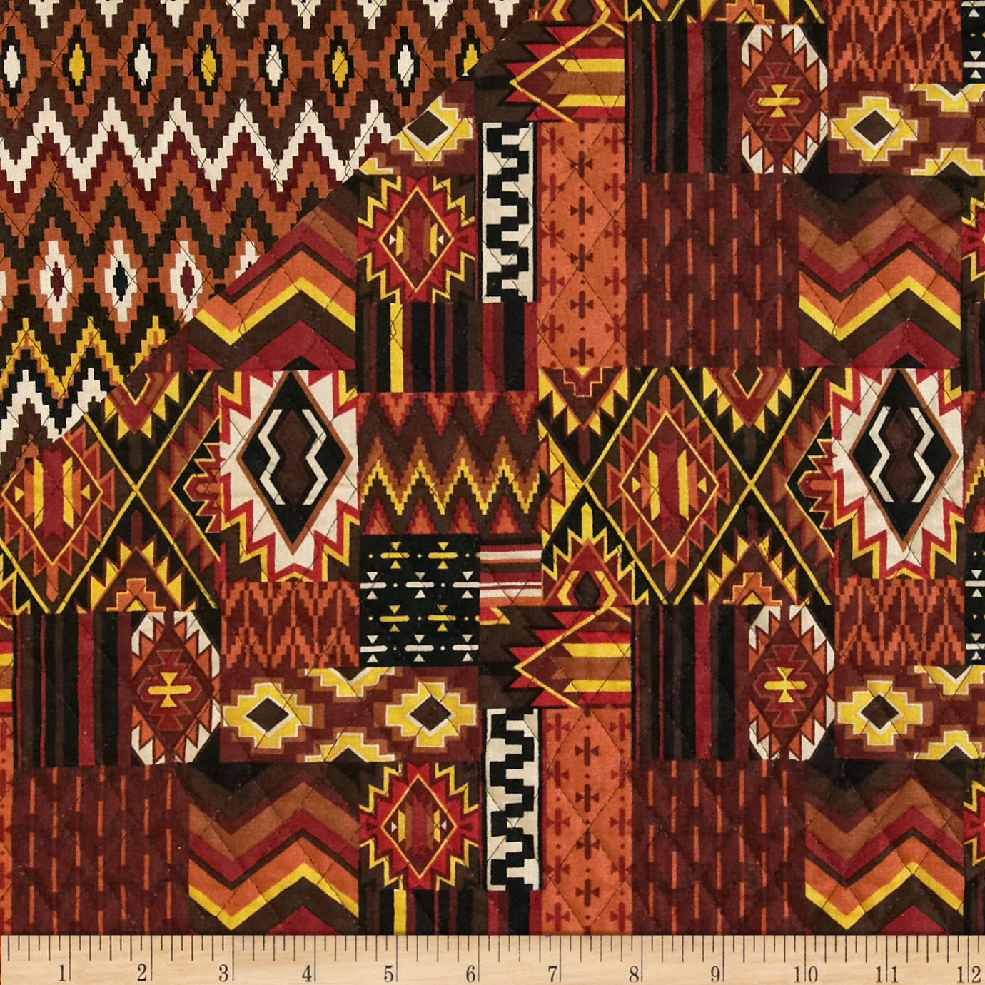 Mesa Verde Double Sided Quilted Aztec Brown Fabric