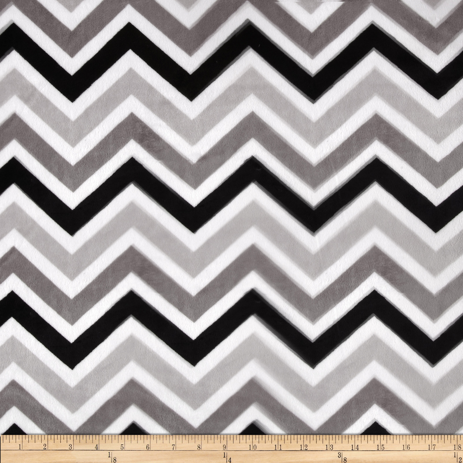 Minky Cuddle Zig Zag Black/Silver/Snow Fabric