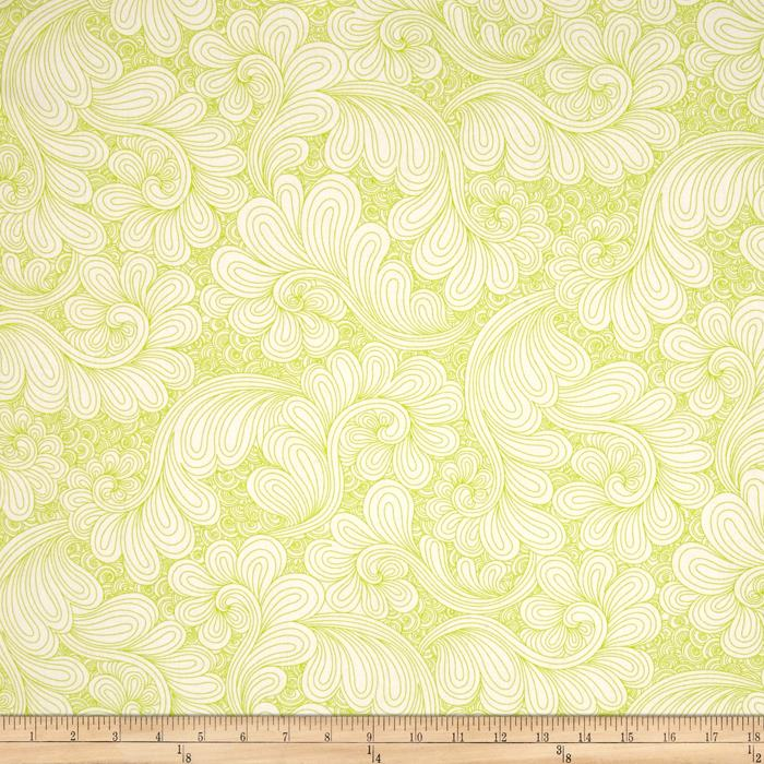 "Kaufman 108"" Wide Quilt Back Drawn Wide Petal Swirl Chartreuse"