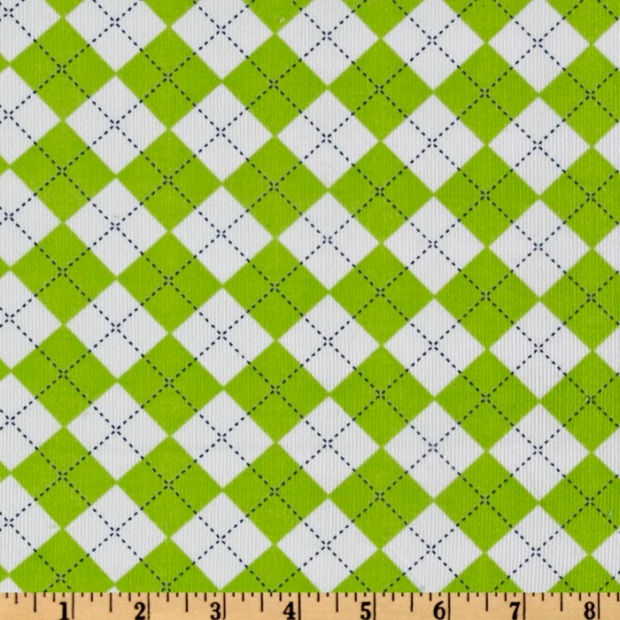 Kaufman 21 Wale Cool Cords Argyle Green Fabric