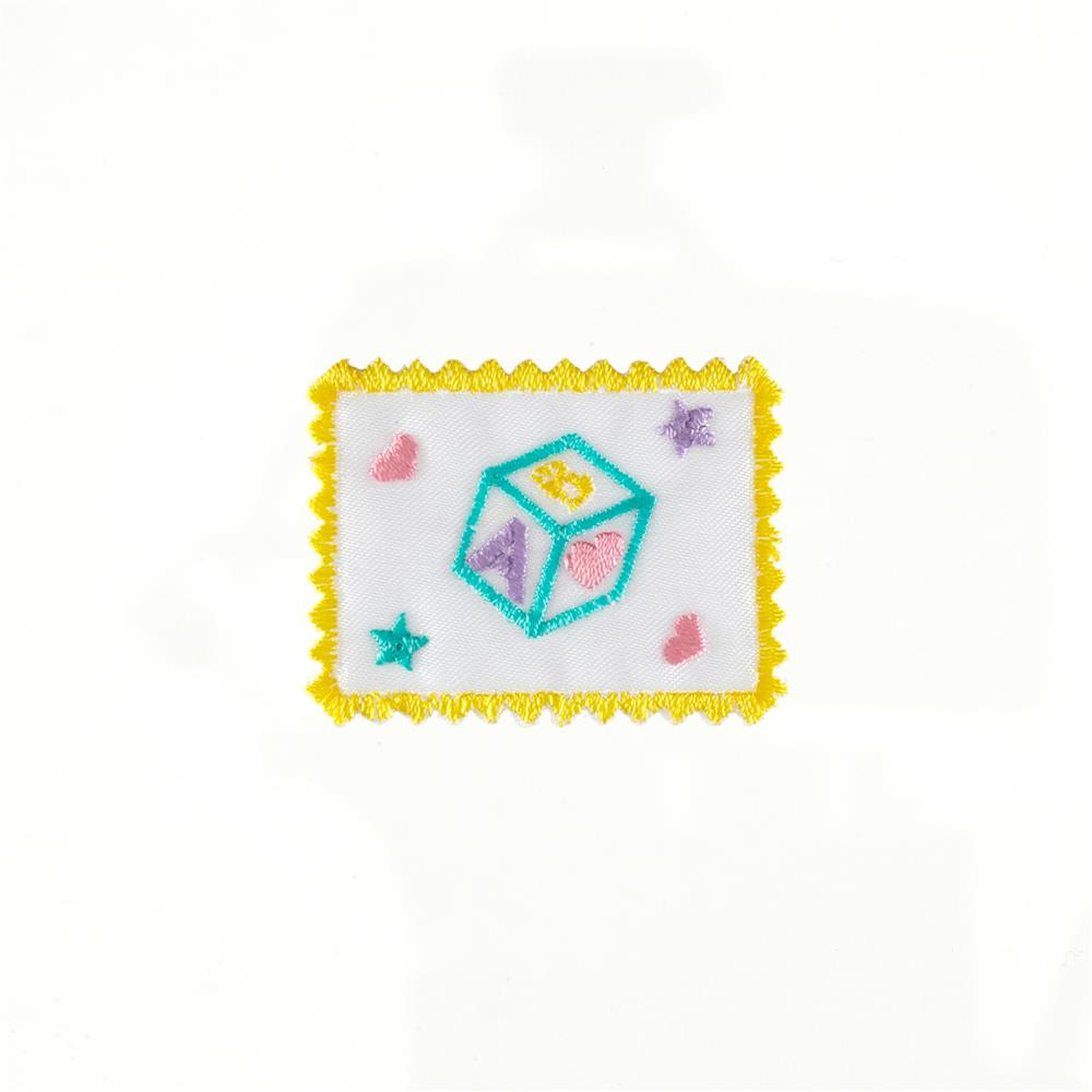 ABC Block Stamp Applique White