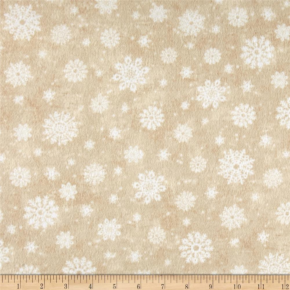 Timeless Treasures Winter Memories Flannel Snowflakes Beige
