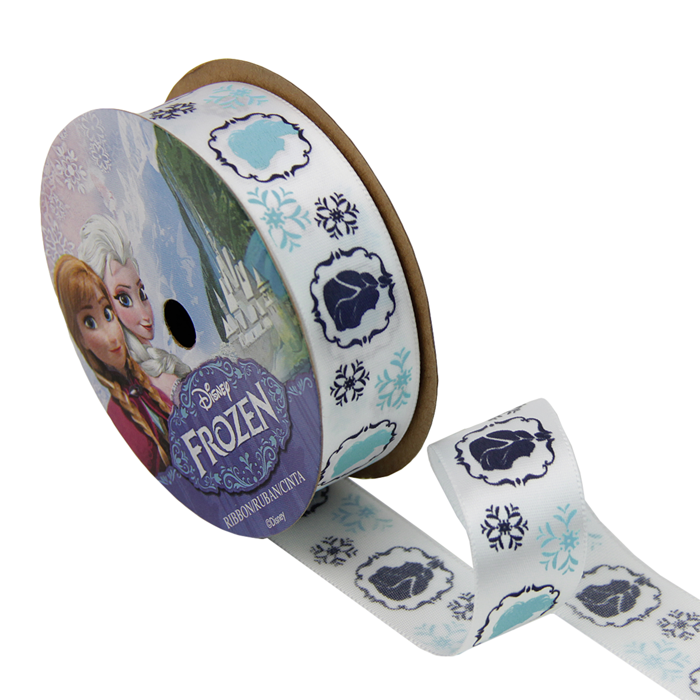 7/8'' Frozen Ribbon Royal Characters White 3YD Spool by Stardom Specialty in USA