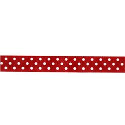 5/8'' Grosgrain Ribbon Polka Dots Red/White