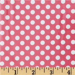 Riley Blake Laminated Cotton Small Dots Hot Pink/White