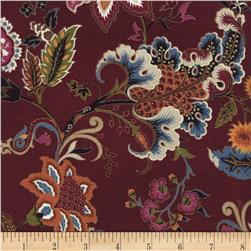 Timeless Treasures Metallic Tivoli Jacobean Floral Wine
