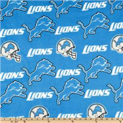 NFL Fleece Detroit Lions Blue/White Fabric