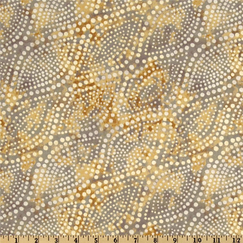 108'' Wide Diagonal Dots Quilt Backing Grey/Gold