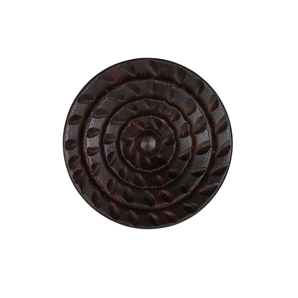 Wood Button 1 1/2'' Ruffles Rosewood