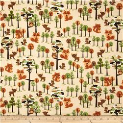 Comfy Flannel Forest Citters & Tree's Tan Fabric