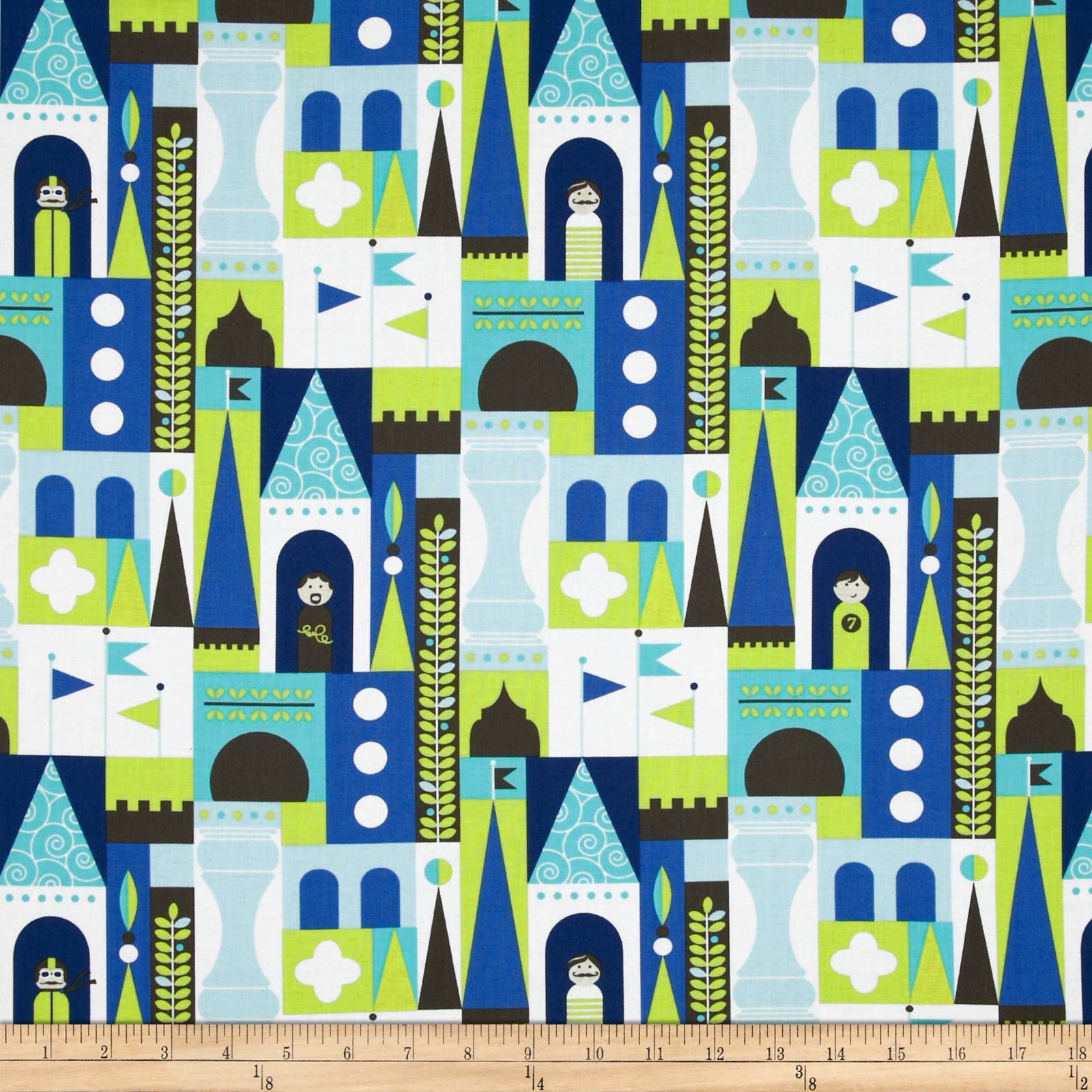 Michael Miller Retro Castle Blocks Blue Fabric