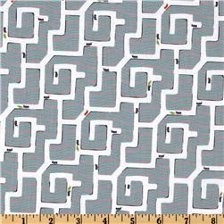 Michael Miller Backyard Baby Ant Maze Gray Fabric