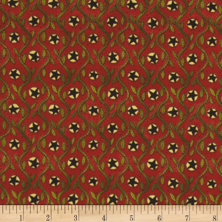 Moda Round Robin Vine Stripe Poppy Red