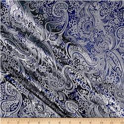 Paisley Metallic Brocade Navy