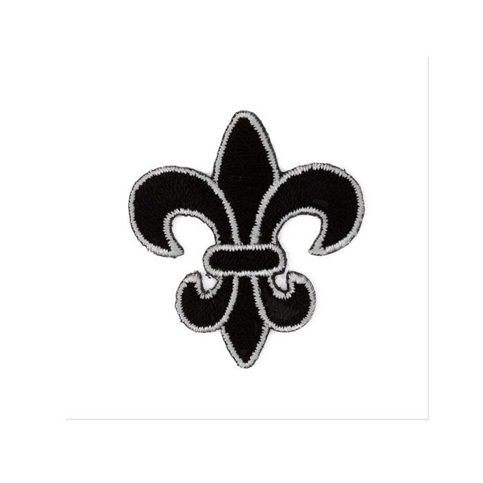 Boutique Applique Fleur De Lis Black/White