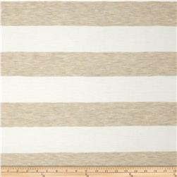Stretch Yarn Dyed Jersey Knit Stripe Tan/White