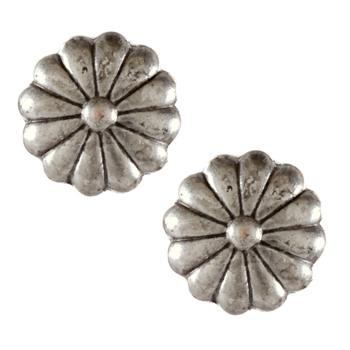 Metal Button 3/4'' Cactus Flower Antique Silver