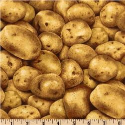 Farmer's Market Potatoes Brown Fabric