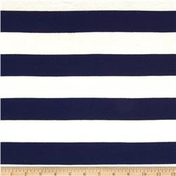 Designer Stretch Rayon Jersey Knit Stripes Ivory/Navy