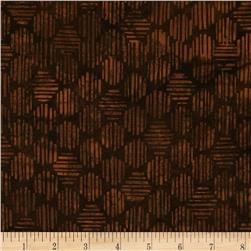 Bali Batiks Handpaint Striped Hexagon Brown Fabric