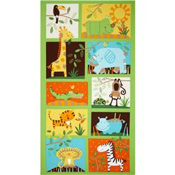 Timeless Treasures Jungle Animal Panel Green